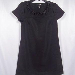 H&M Black Shift Dress Short Sleeve Neck Embellish